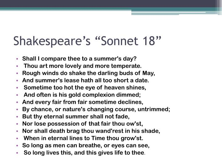 "Shakespeare's ""Sonnet 18"""