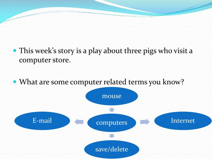 This week's story is a play about three pigs who visit a computer store.