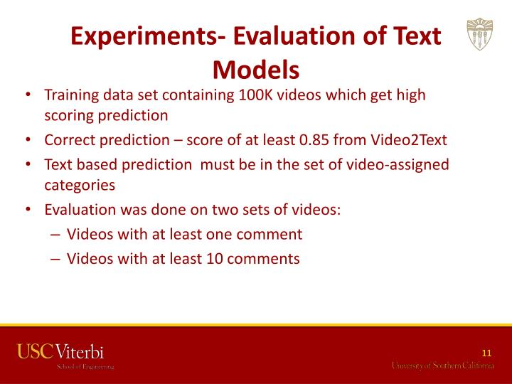 Experiments- Evaluation of Text Models
