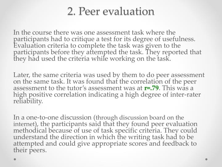 2. Peer evaluation