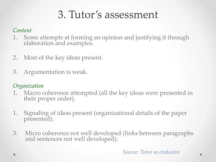 3. Tutor's assessment