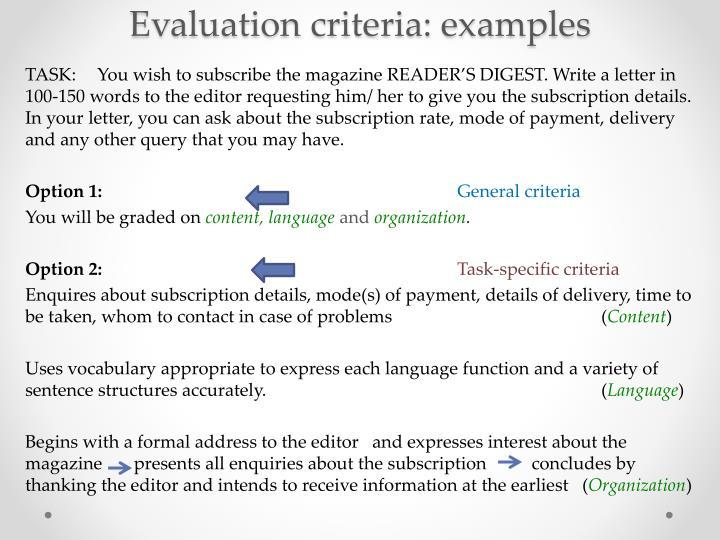 Evaluation criteria: examples