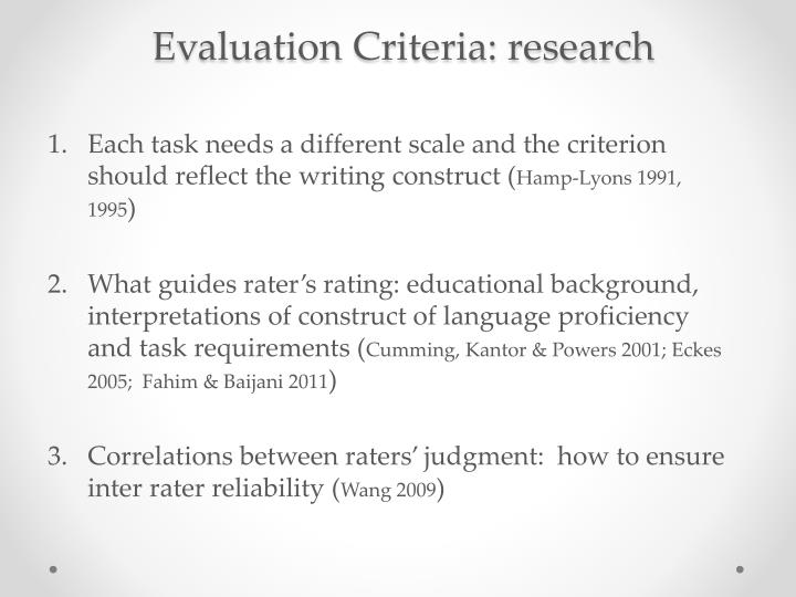 Evaluation Criteria: research