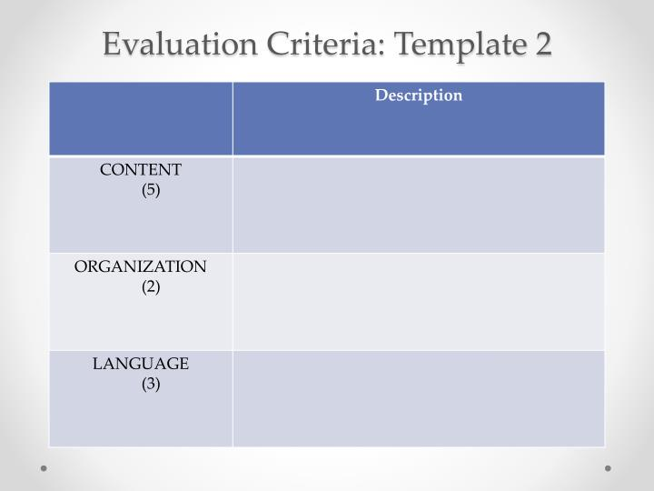 Evaluation Criteria: Template 2