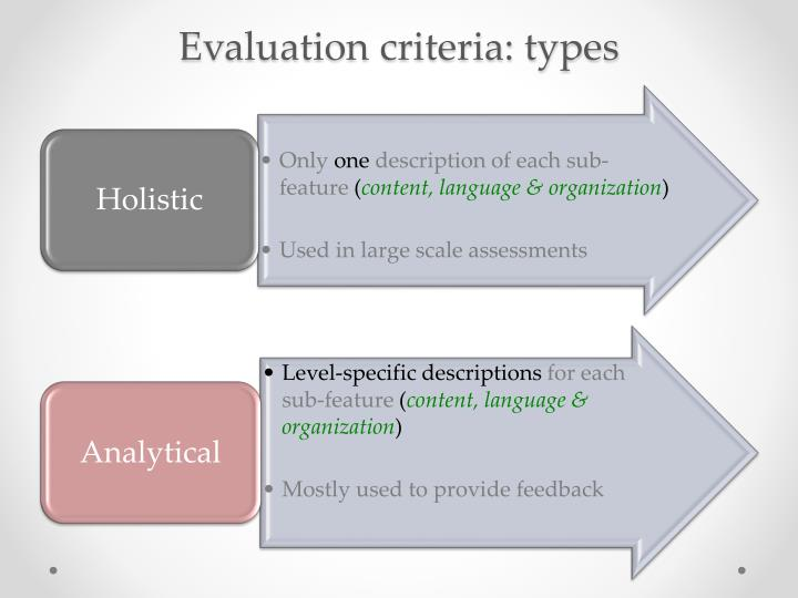 Evaluation criteria: types