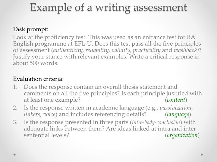 Example of a writing assessment