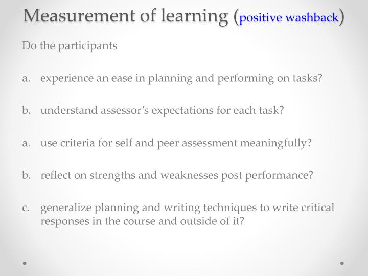 Measurement of learning (