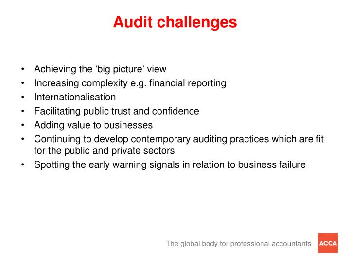 Audit challenges