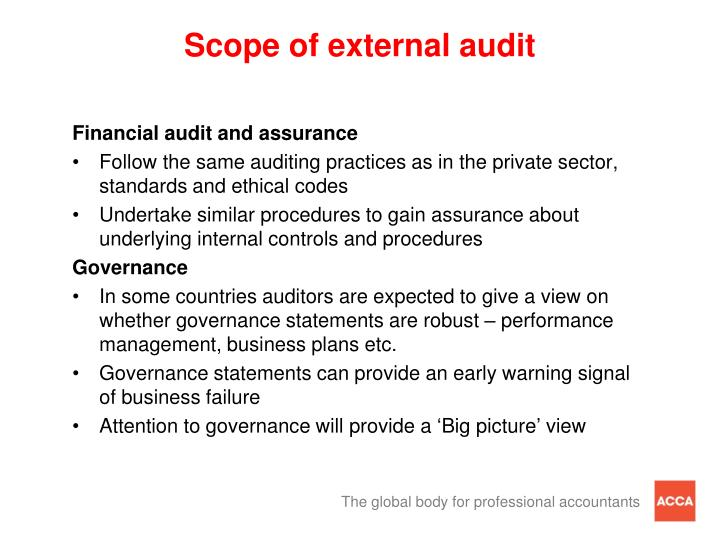 Scope of external audit
