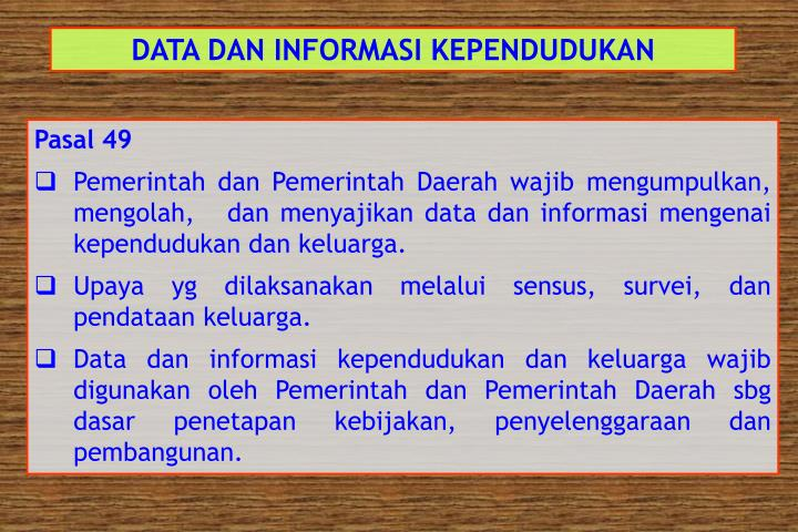 DATA DAN INFORMASI KEPENDUDUKAN