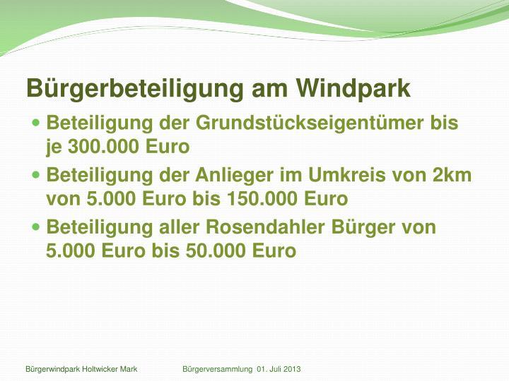 Bürgerbeteiligung am Windpark