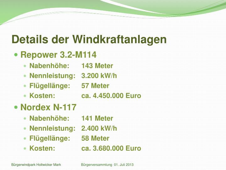 Details der Windkraftanlagen