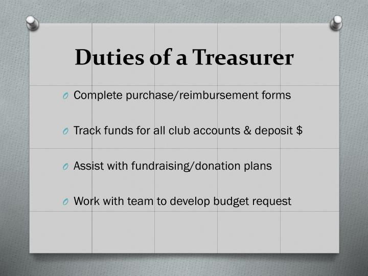 Duties of a treasurer