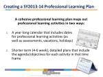 creating a sy2013 14 professional learning plan