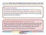 example what does an aligned instructional practice look like