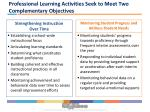 professional learning activities seek to meet two complementary objectives1