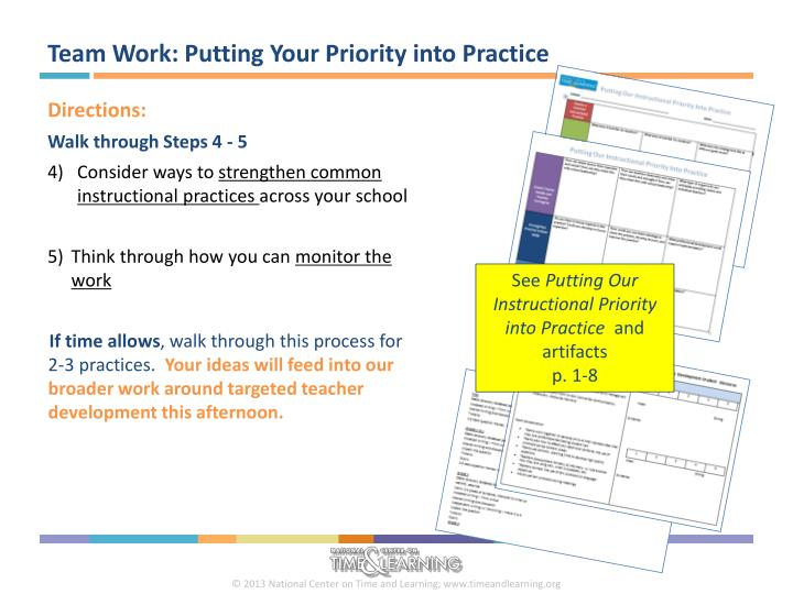 Team Work: Putting Your Priority into Practice
