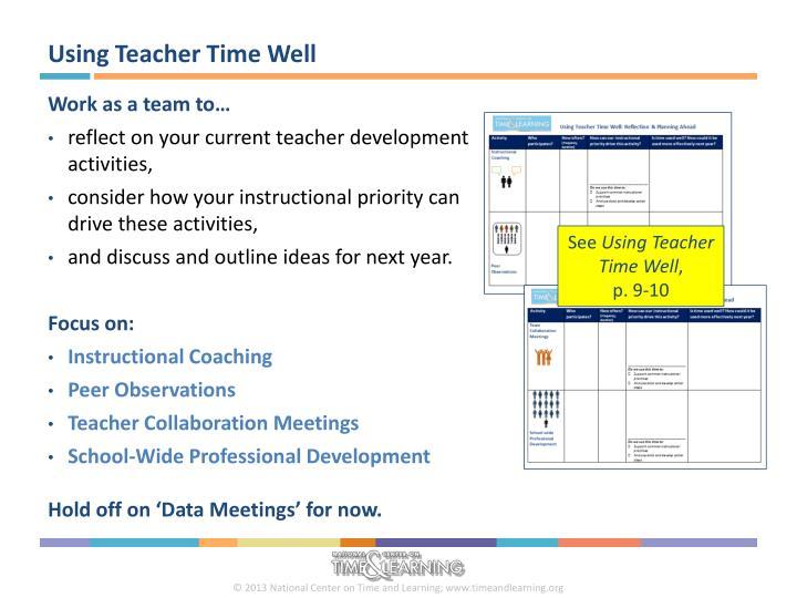 Using Teacher Time Well