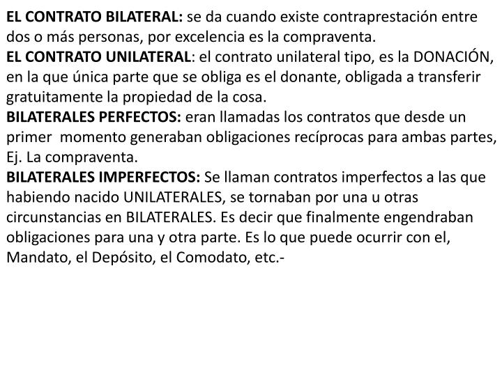EL CONTRATO BILATERAL: