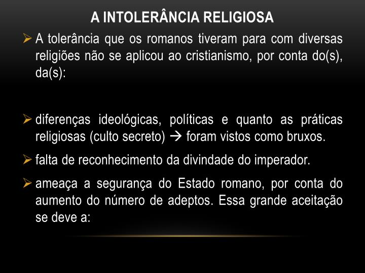 A INTOLERância religiosa