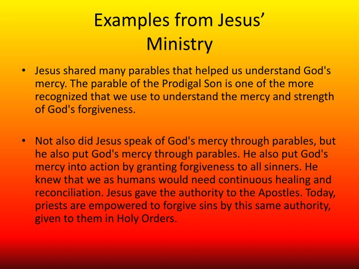 Examples from Jesus'
