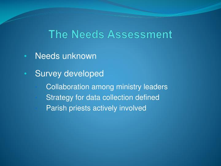 The Needs Assessment