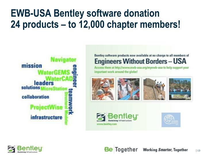 EWB-USA Bentley software donation