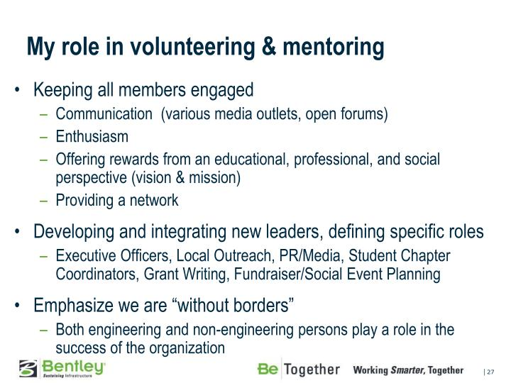 My role in volunteering & mentoring