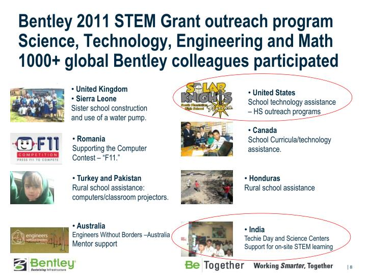 Bentley 2011 STEM Grant outreach program