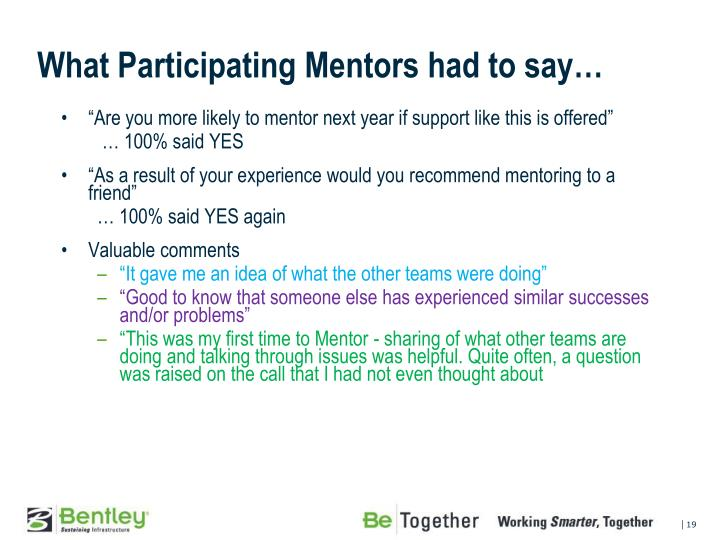 What Participating Mentors had to say…