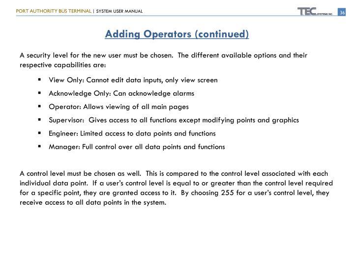 Adding Operators (continued)