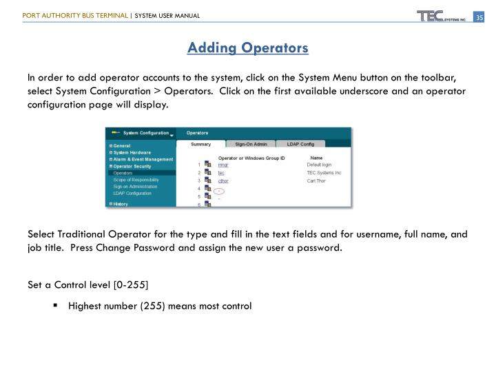 Adding Operators