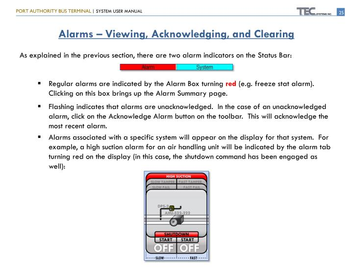 Alarms – Viewing, Acknowledging, and Clearing