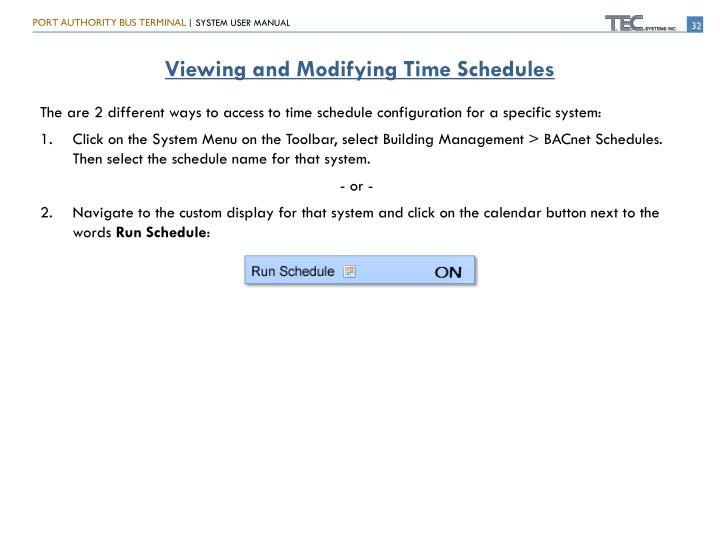 Viewing and Modifying Time Schedules