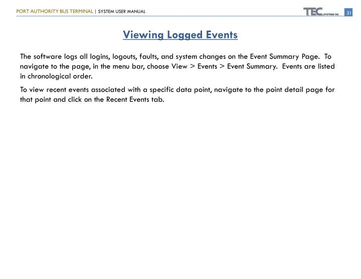 Viewing Logged Events