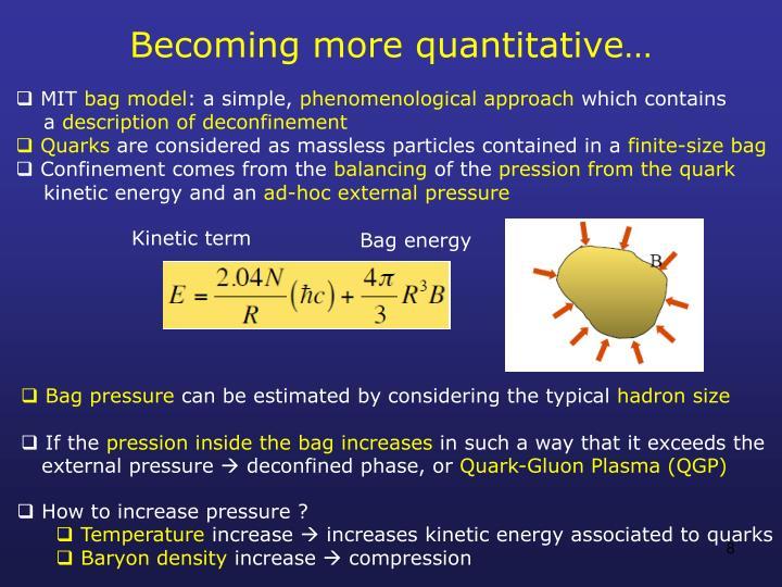 Becoming more quantitative…
