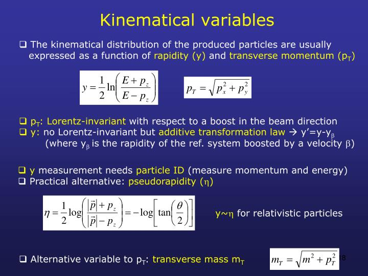 Kinematical variables