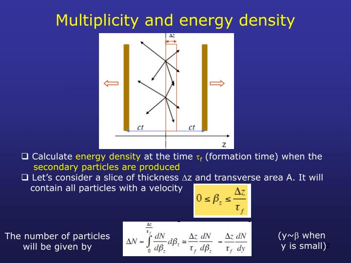 Multiplicity and energy density