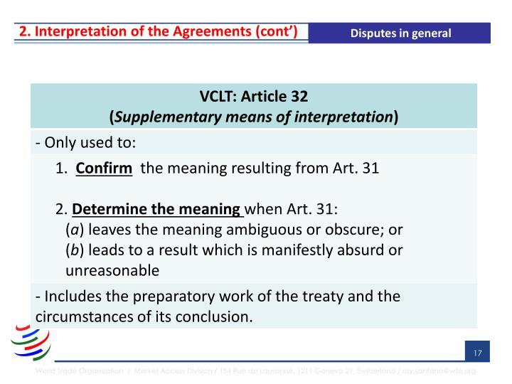 2. Interpretation of the Agreements (cont')