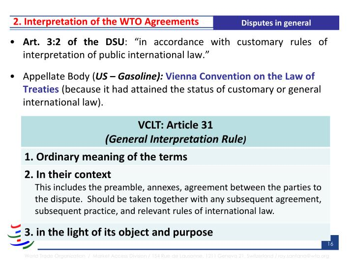 2. Interpretation of the WTO Agreements