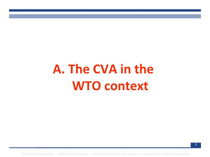 A the cva in the wto context