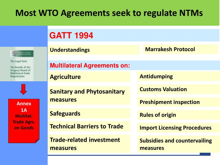 Most WTO Agreements seek to regulate NTMs
