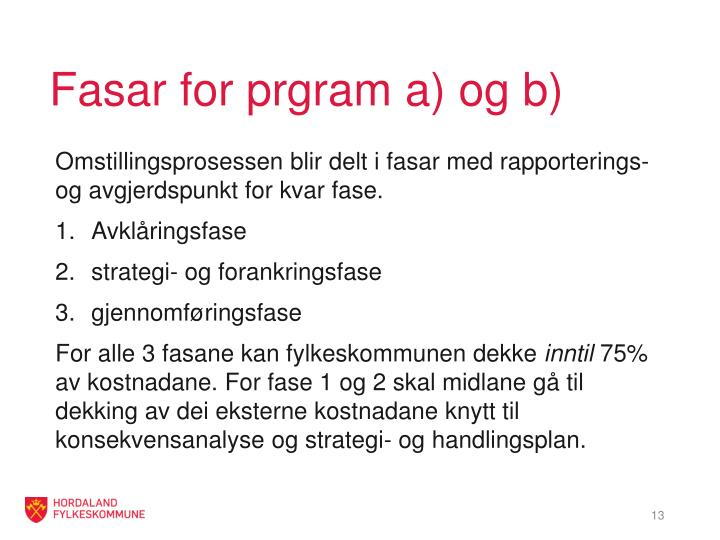 Fasar for prgram a) og b)