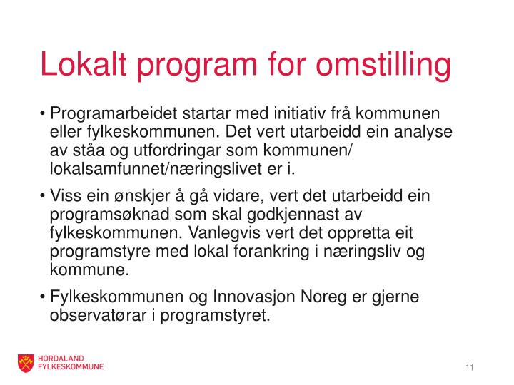 Lokalt program for omstilling