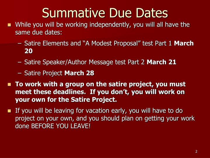 Summative Due Dates