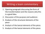 writing a team commentary
