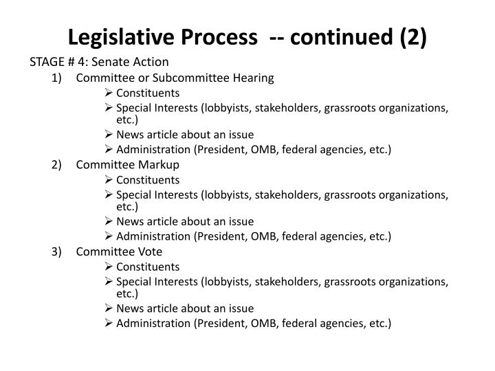 Legislative Process  -- continued (2)