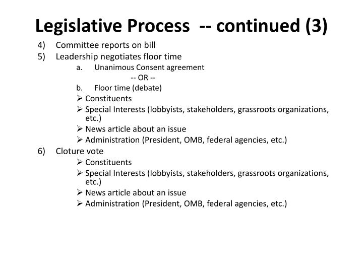 Legislative Process  -- continued (3)