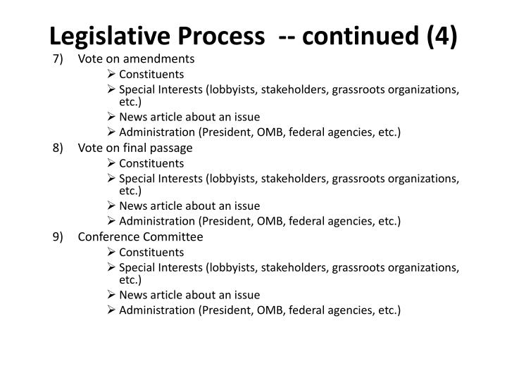 Legislative Process  -- continued (4)