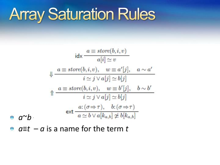 Array Saturation Rules